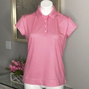 Adidas ClimaCool Pink/White Checked Golf Shirt, M